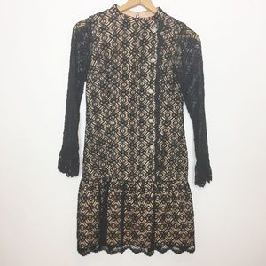 RARE Vintage Black Lace Cocktail Dress Drop waist